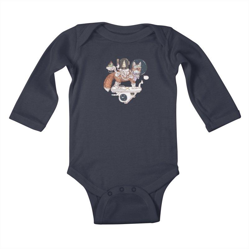 fox space suit Kids Baby Longsleeve Bodysuit by makapa's Artist Shop