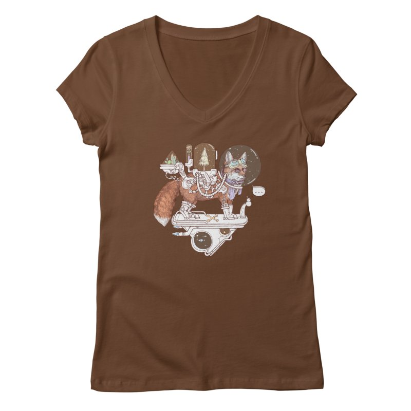 fox space suit Women's Regular V-Neck by makapa's Artist Shop
