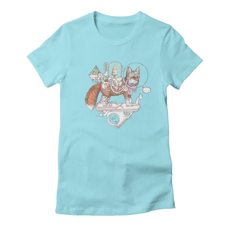 fox space suit Women's Fitted T-Shirt by makapa's Artist Shop