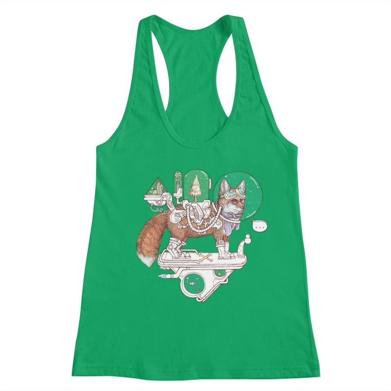 fox space suit Women's Racerback Tank by makapa's Artist Shop