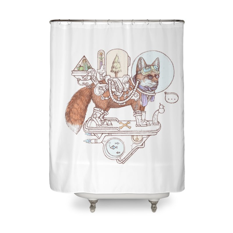 fox space suit Home Shower Curtain by makapa's Artist Shop