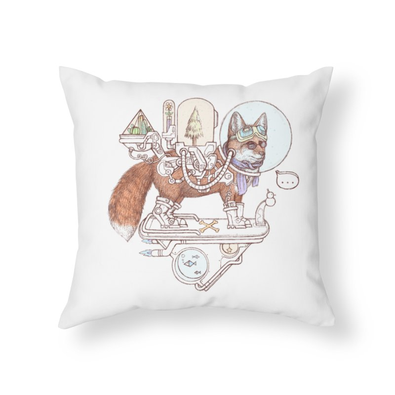 fox space suit Home Throw Pillow by makapa's Artist Shop