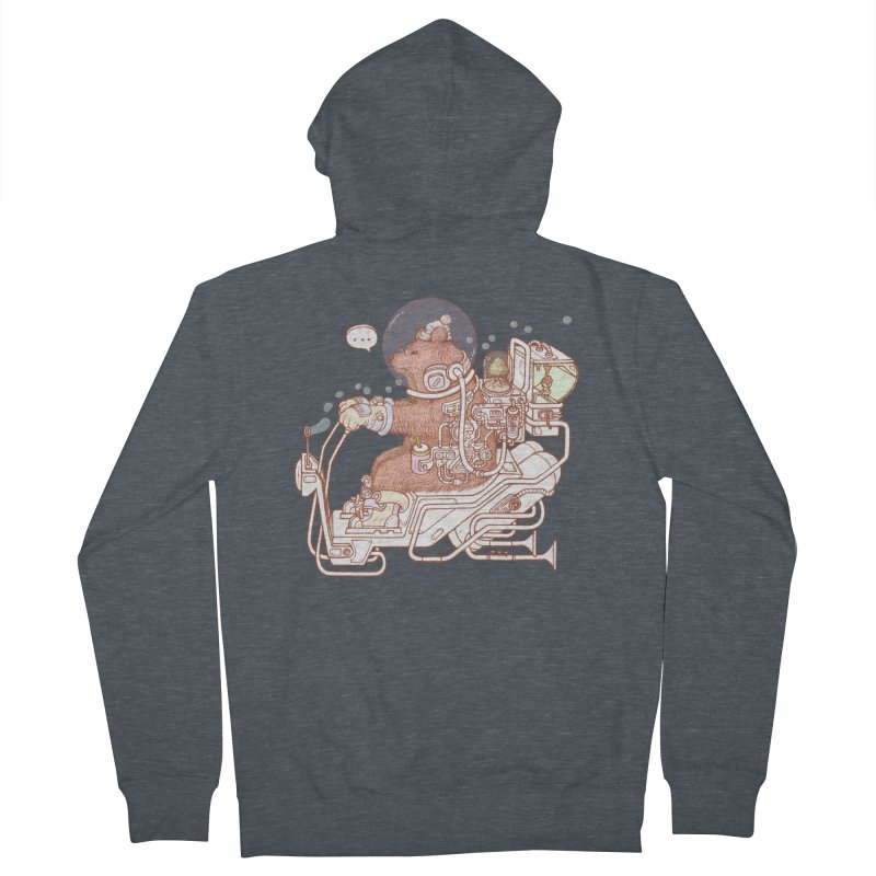 bear space suit Women's French Terry Zip-Up Hoody by makapa's Artist Shop
