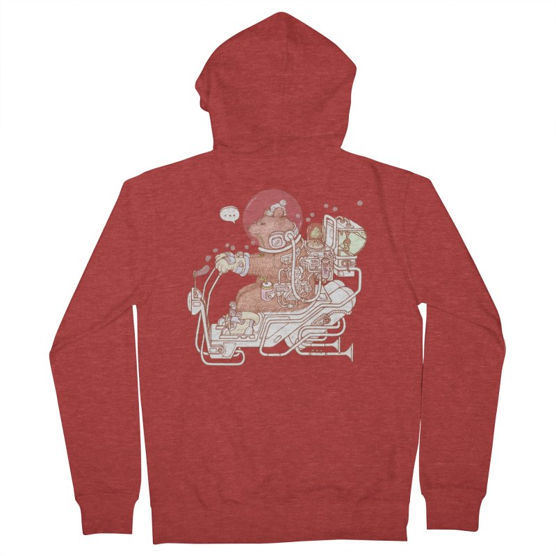 bear space suit Men's French Terry Zip-Up Hoody by makapa's Artist Shop