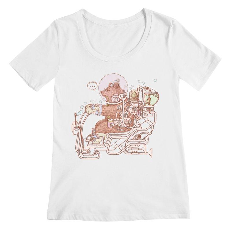 bear space suit Women's Regular Scoop Neck by makapa's Artist Shop