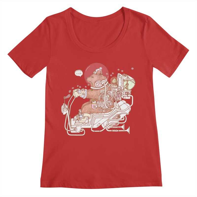 bear space suit Women's Regular Scoop Neck by makapa's Artist Shop