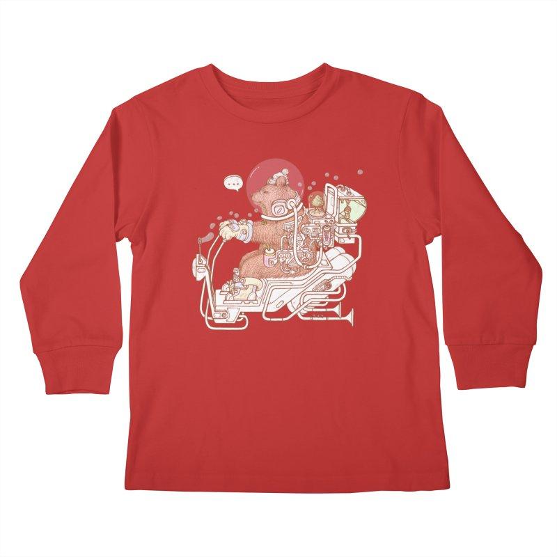 bear space suit Kids Longsleeve T-Shirt by makapa's Artist Shop