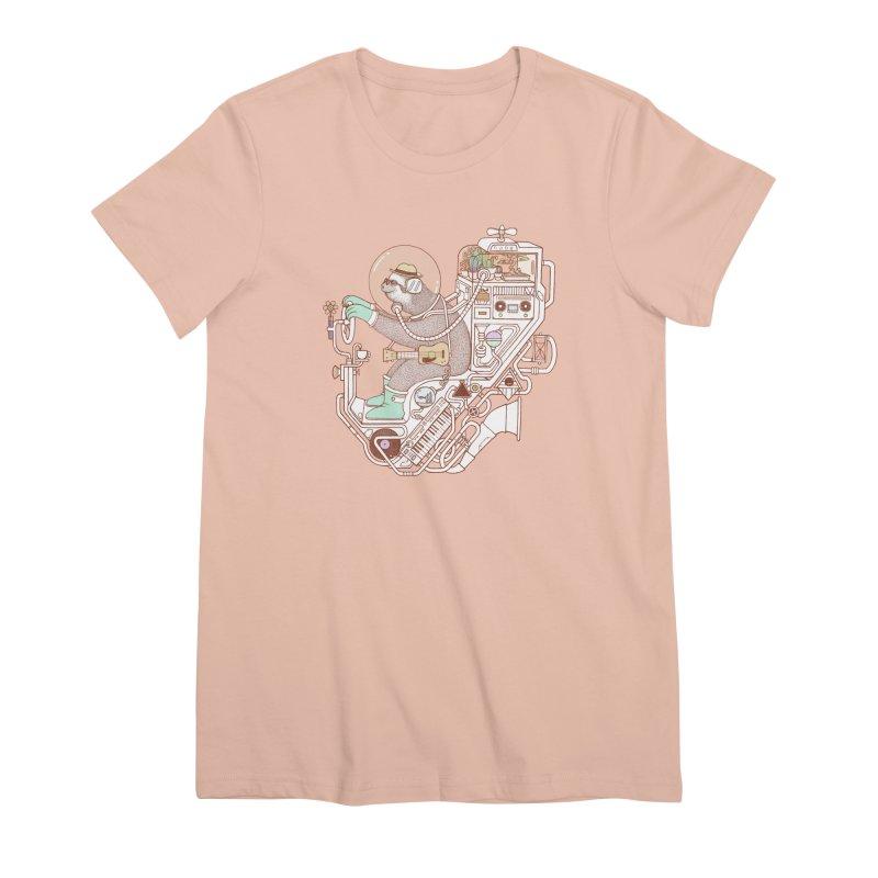 sloth machine Women's Premium T-Shirt by makapa's Artist Shop