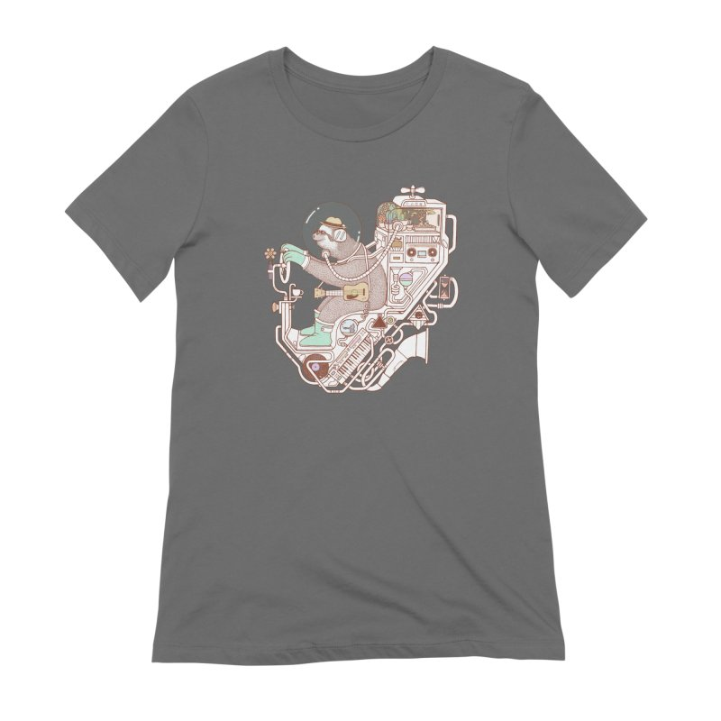 sloth machine Women's Extra Soft T-Shirt by makapa's Artist Shop