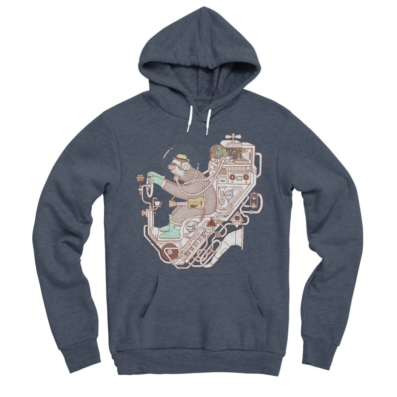 sloth machine Men's Sponge Fleece Pullover Hoody by makapa's Artist Shop