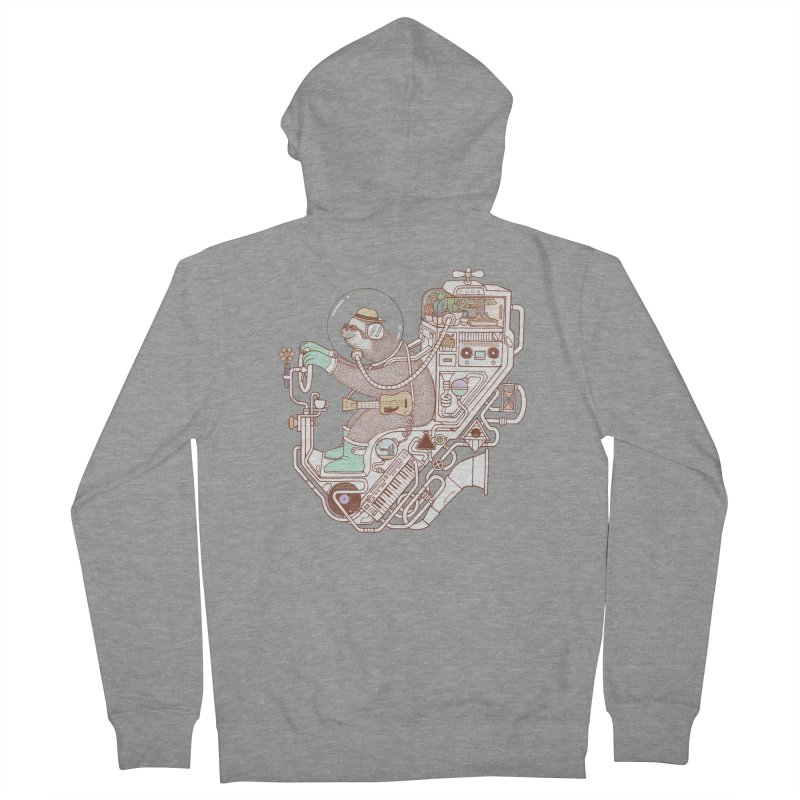 sloth machine Men's French Terry Zip-Up Hoody by makapa's Artist Shop