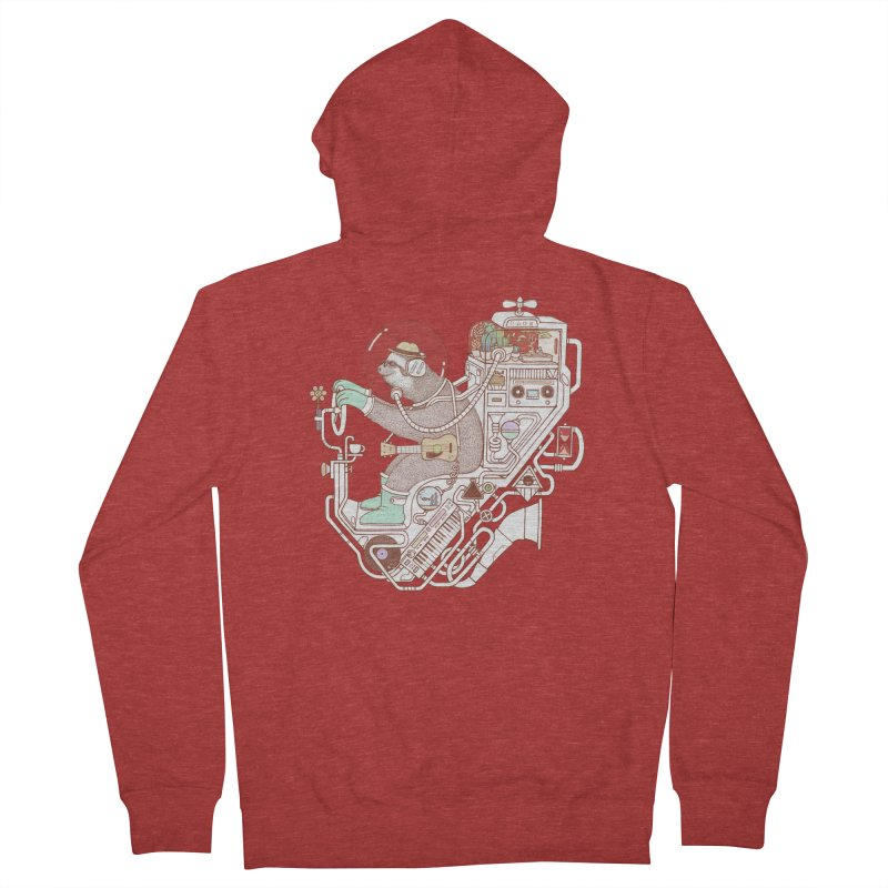 sloth machine Men's Zip-Up Hoody by makapa's Artist Shop