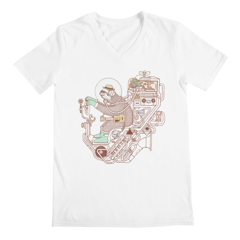 sloth machine Men's V-Neck by makapa's Artist Shop