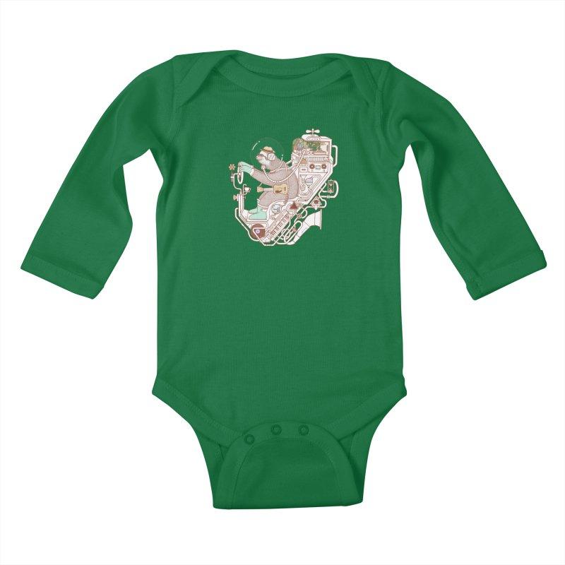 sloth machine Kids Baby Longsleeve Bodysuit by makapa's Artist Shop