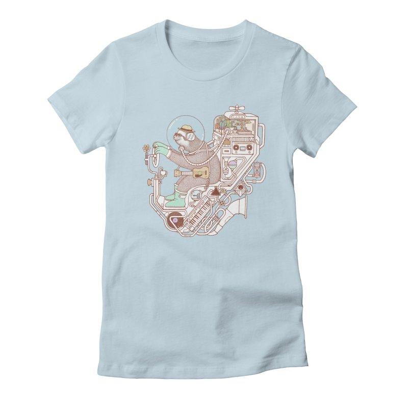 sloth machine Women's Fitted T-Shirt by makapa's Artist Shop