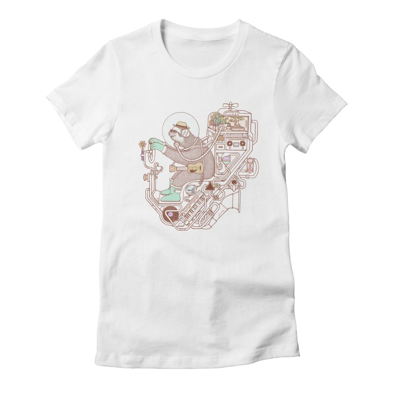 sloth machine Women's Fitted T-Shirt by makapa's Artist Shop