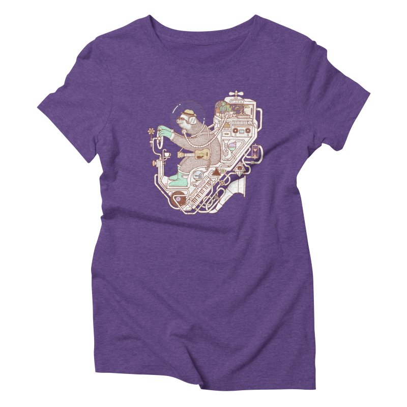 sloth machine Women's Triblend T-Shirt by makapa's Artist Shop