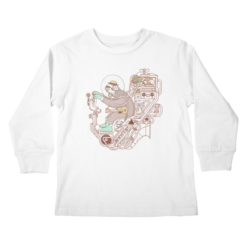 sloth machine Kids Longsleeve T-Shirt by makapa's Artist Shop