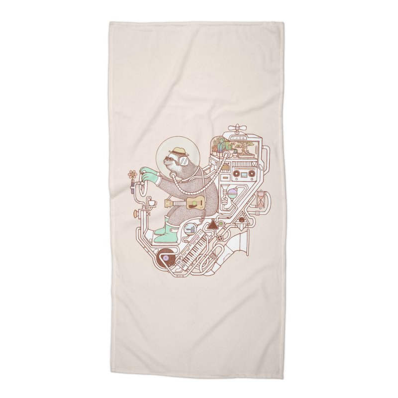 sloth machine Accessories Beach Towel by makapa's Artist Shop