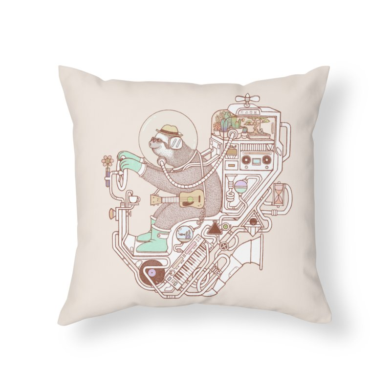sloth machine Home Throw Pillow by makapa's Artist Shop