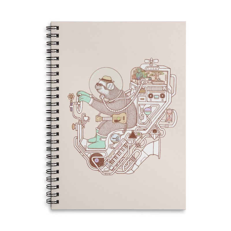 sloth machine Accessories Lined Spiral Notebook by makapa's Artist Shop