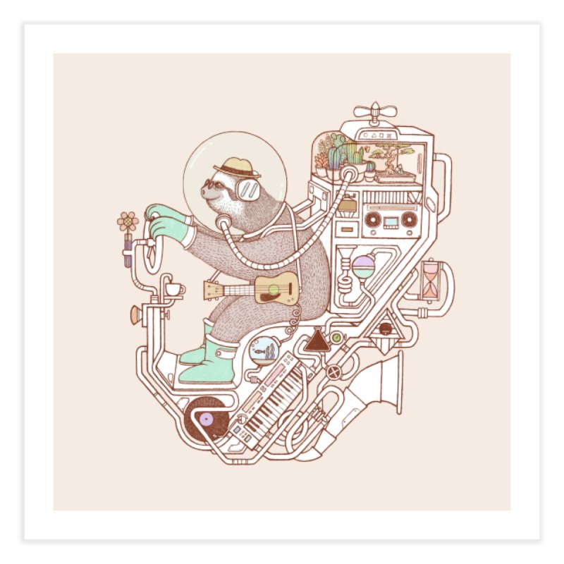 sloth machine Home Fine Art Print by makapa's Artist Shop