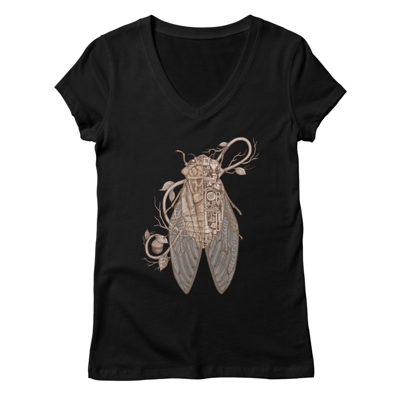 anatomy of cicada Women's V-Neck by makapa's Artist Shop