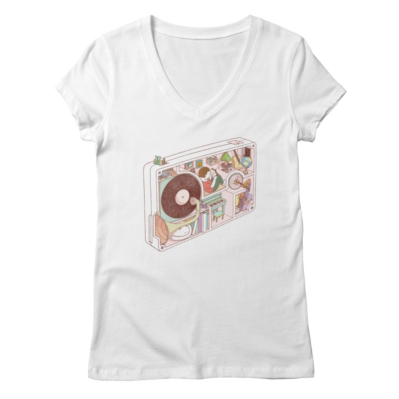 inside analog Women's Regular V-Neck by makapa's Artist Shop
