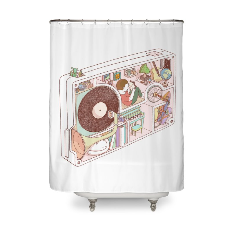 inside analog Home Shower Curtain by makapa's Artist Shop