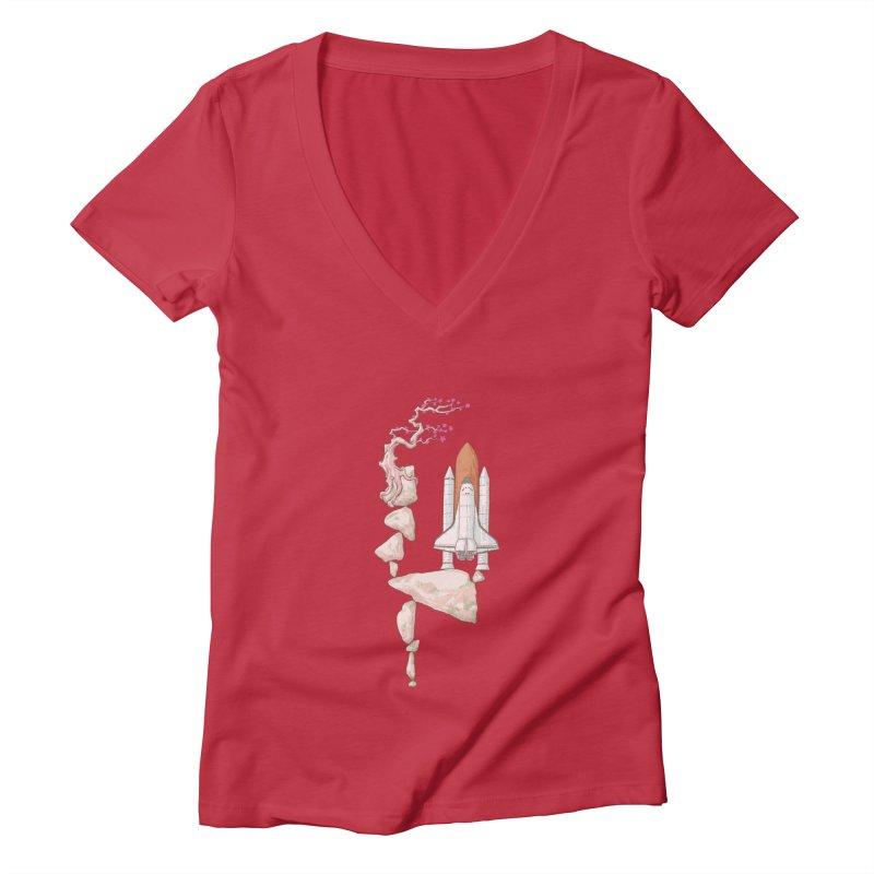 Zen gravity Women's Deep V-Neck V-Neck by makapa's Artist Shop