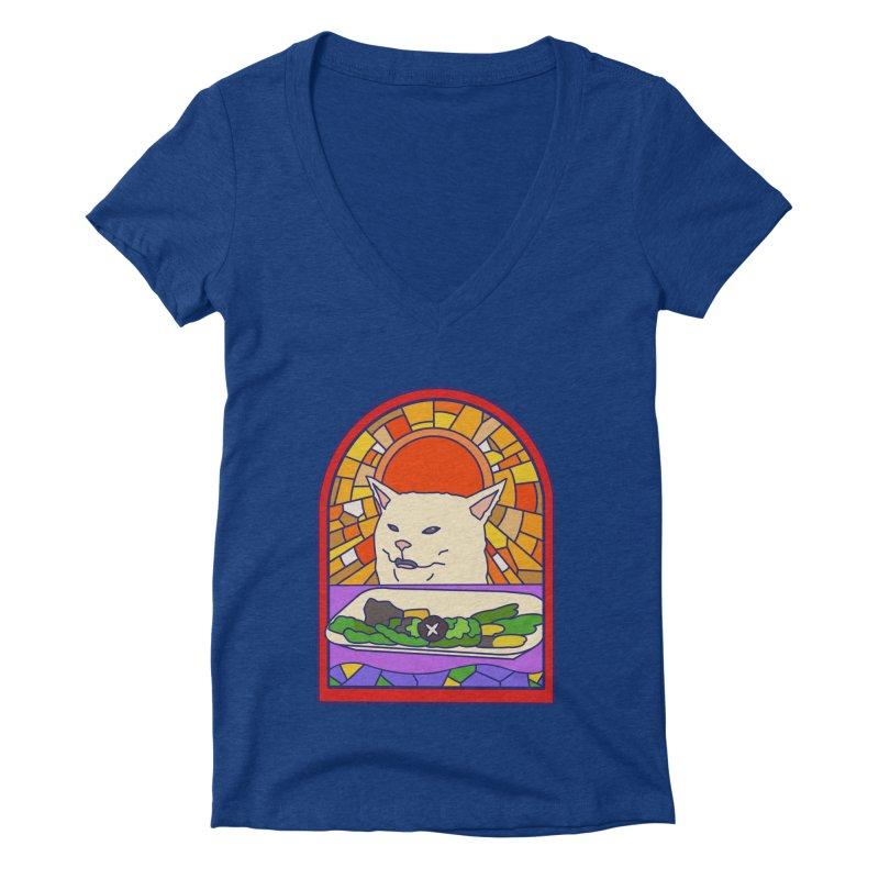 Vegan cat Women's Deep V-Neck V-Neck by makapa's Artist Shop