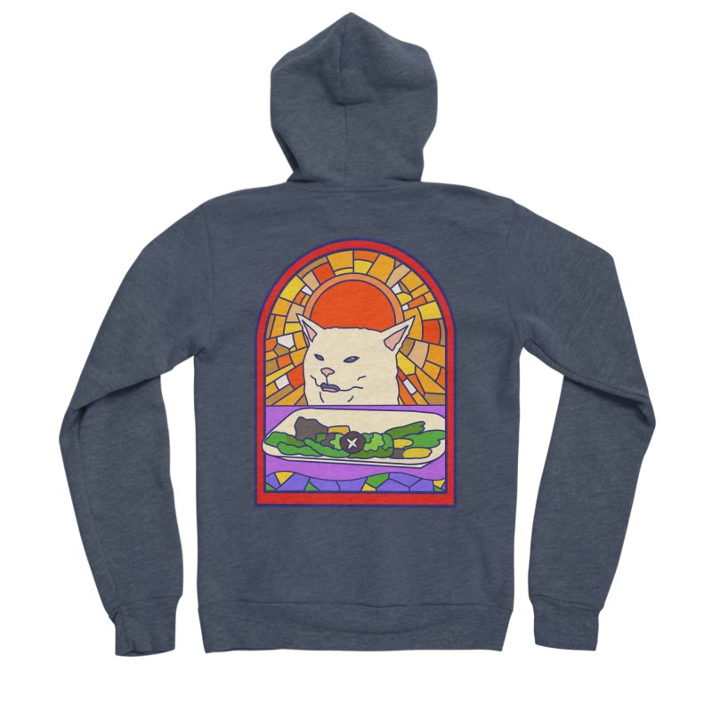 Vegan cat Men's Sponge Fleece Zip-Up Hoody by makapa's Artist Shop