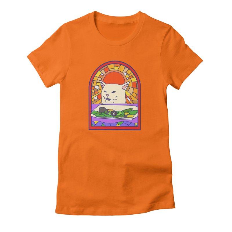 Vegan cat Women's Fitted T-Shirt by makapa's Artist Shop
