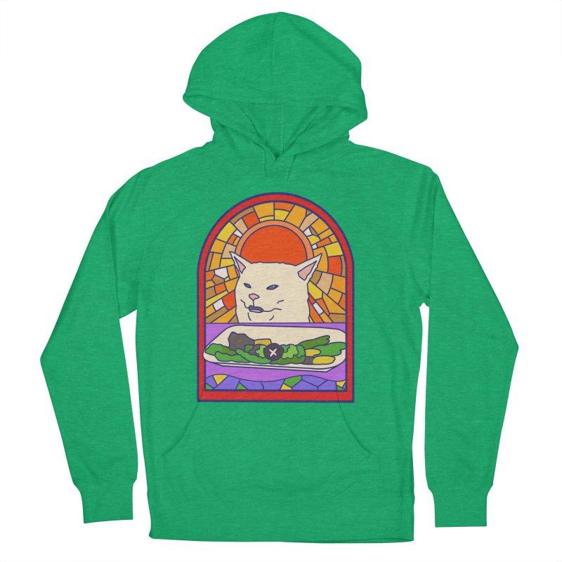 Vegan cat Men's French Terry Pullover Hoody by makapa's Artist Shop