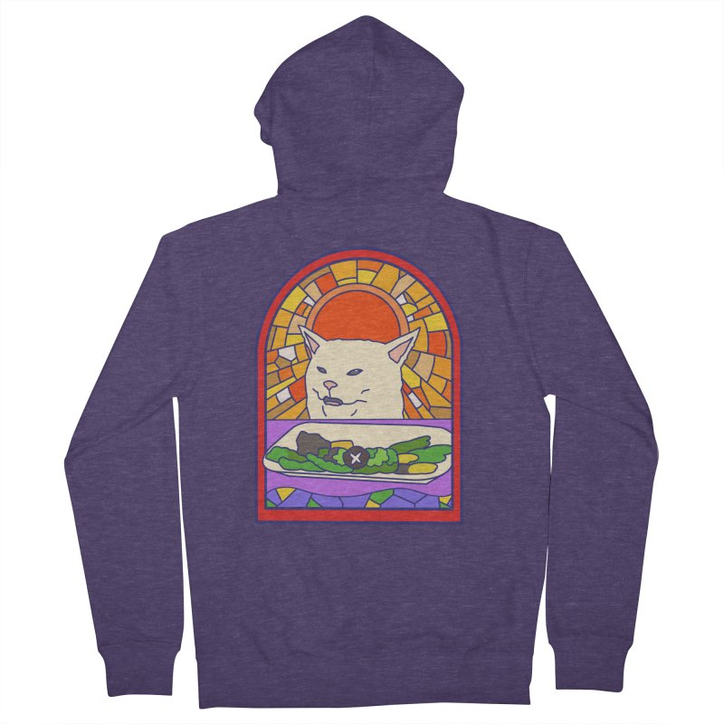 Vegan cat Men's French Terry Zip-Up Hoody by makapa's Artist Shop