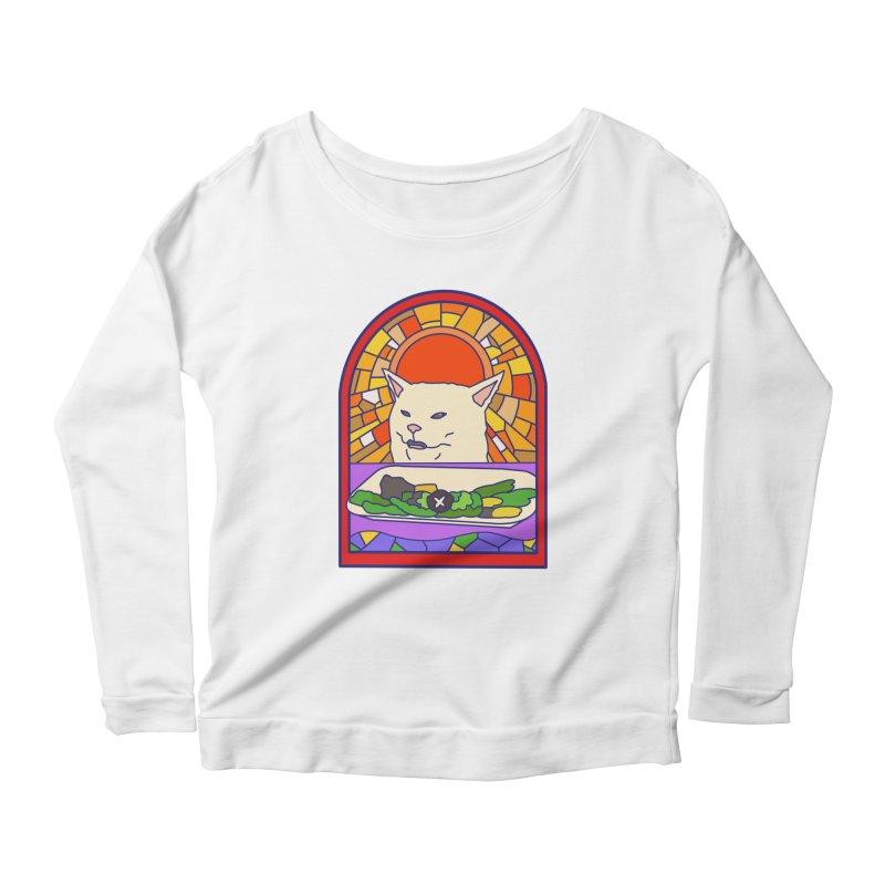 Vegan cat Women's Scoop Neck Longsleeve T-Shirt by makapa's Artist Shop