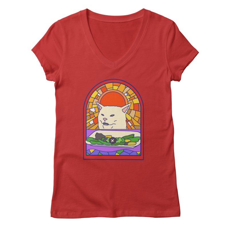Vegan cat Women's Regular V-Neck by makapa's Artist Shop
