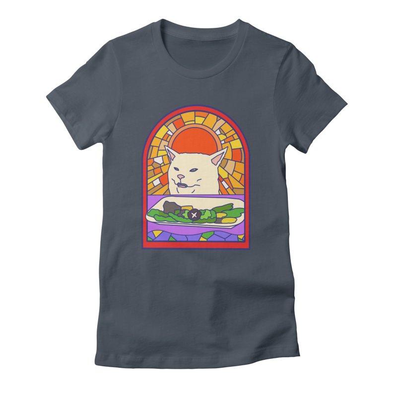 Vegan cat Women's T-Shirt by makapa's Artist Shop