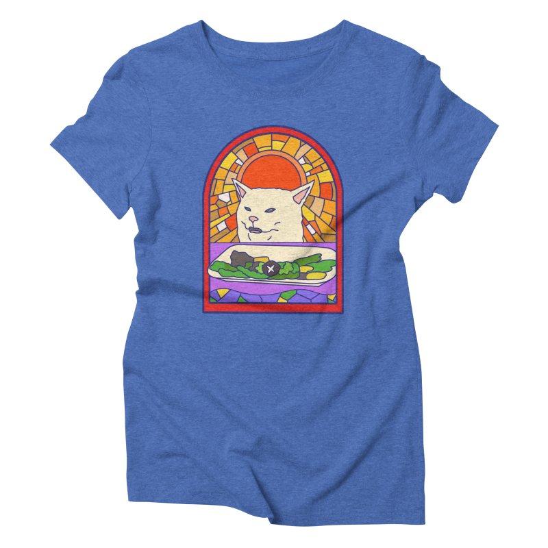 Vegan cat Women's Triblend T-Shirt by makapa's Artist Shop