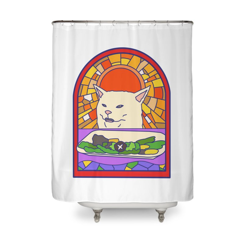 Vegan cat Home Shower Curtain by makapa's Artist Shop