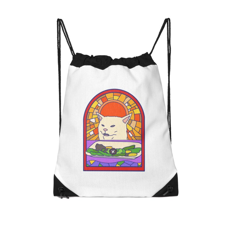 Vegan cat Accessories Drawstring Bag Bag by makapa's Artist Shop