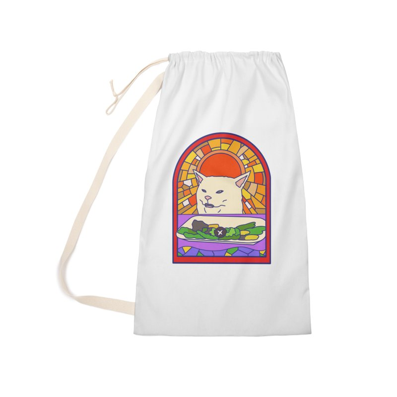 Vegan cat Accessories Laundry Bag Bag by makapa's Artist Shop