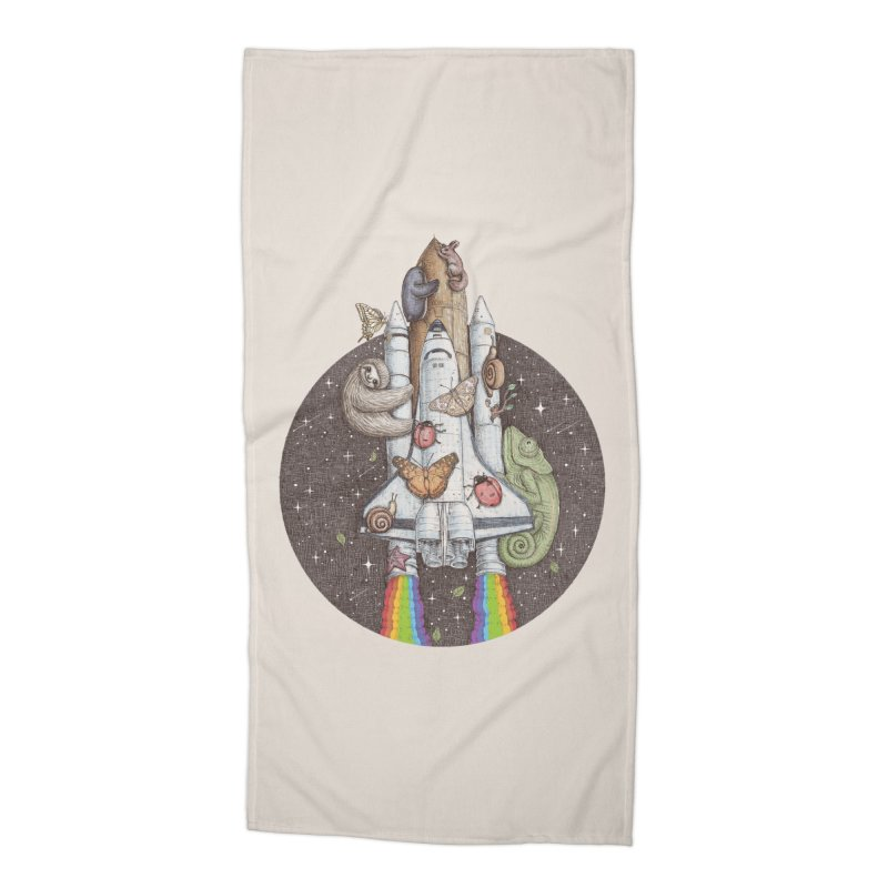 a trip to the moon Accessories Beach Towel by makapa's Artist Shop