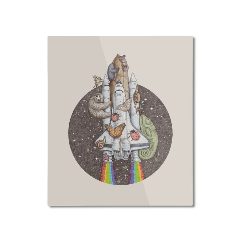 a trip to the moon Home Mounted Aluminum Print by makapa's Artist Shop