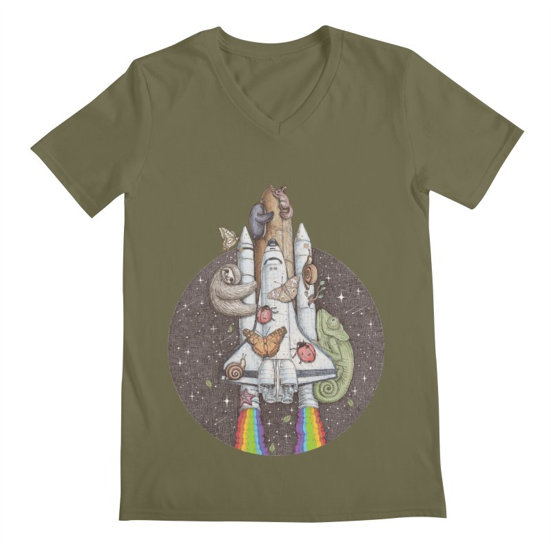 a trip to the moon Men's V-Neck by makapa's Artist Shop