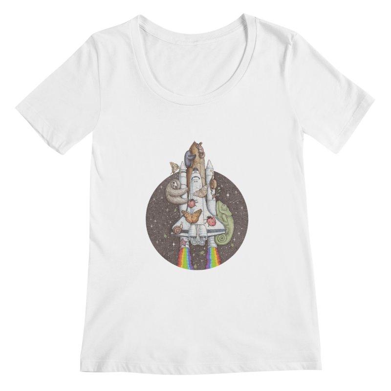 a trip to the moon Women's Scoopneck by makapa's Artist Shop