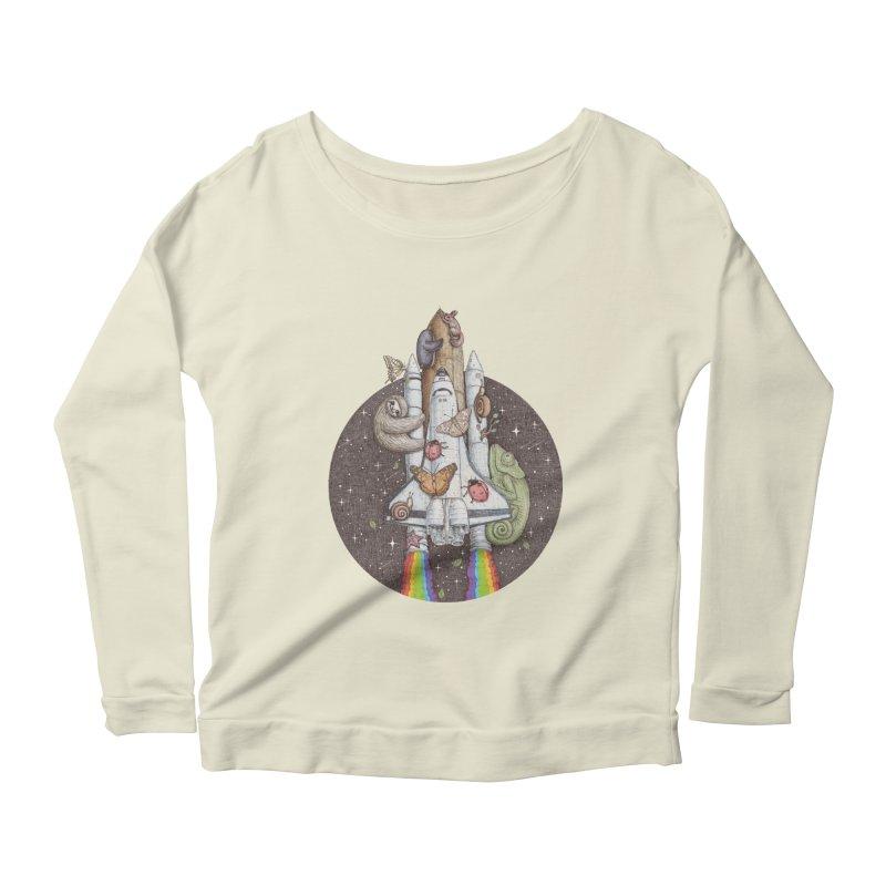 a trip to the moon Women's Longsleeve Scoopneck  by makapa's Artist Shop