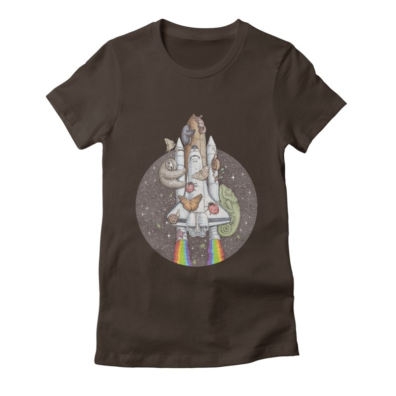 a trip to the moon Women's Fitted T-Shirt by makapa's Artist Shop