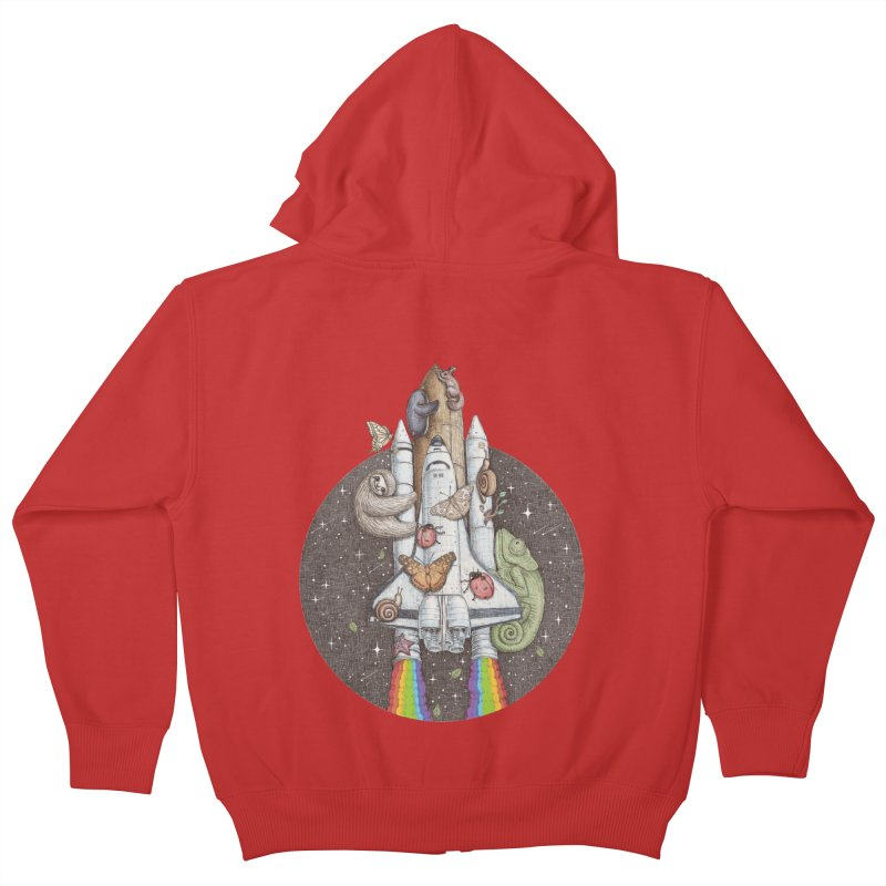 a trip to the moon Kids Zip-Up Hoody by makapa's Artist Shop