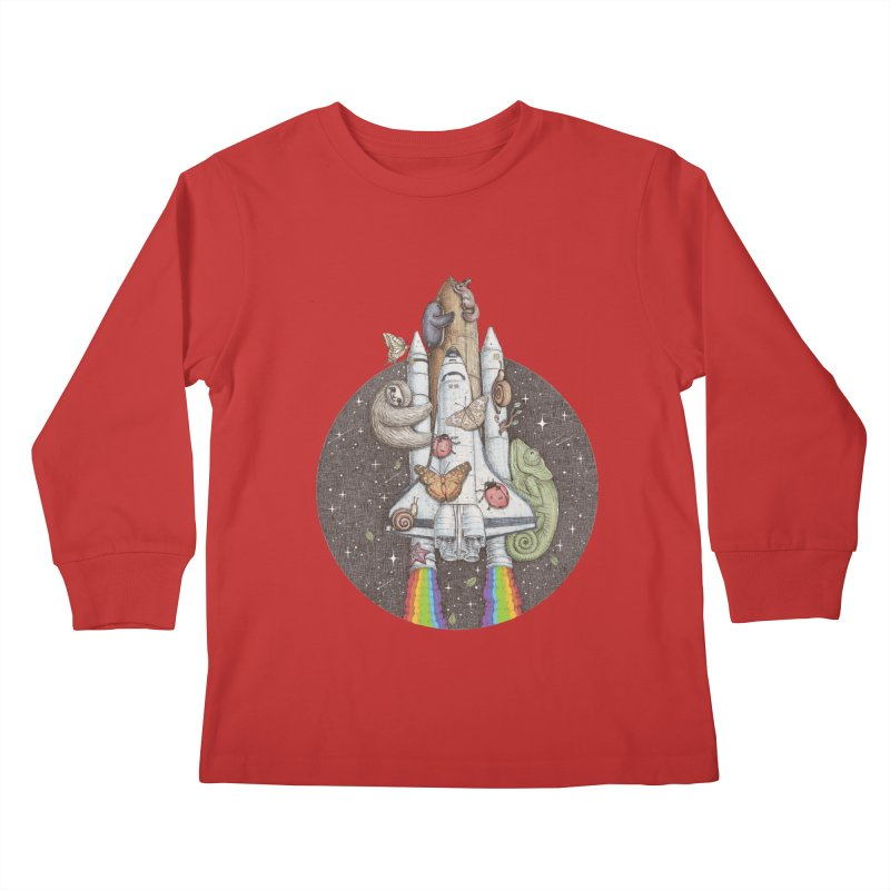 a trip to the moon Kids Longsleeve T-Shirt by makapa's Artist Shop